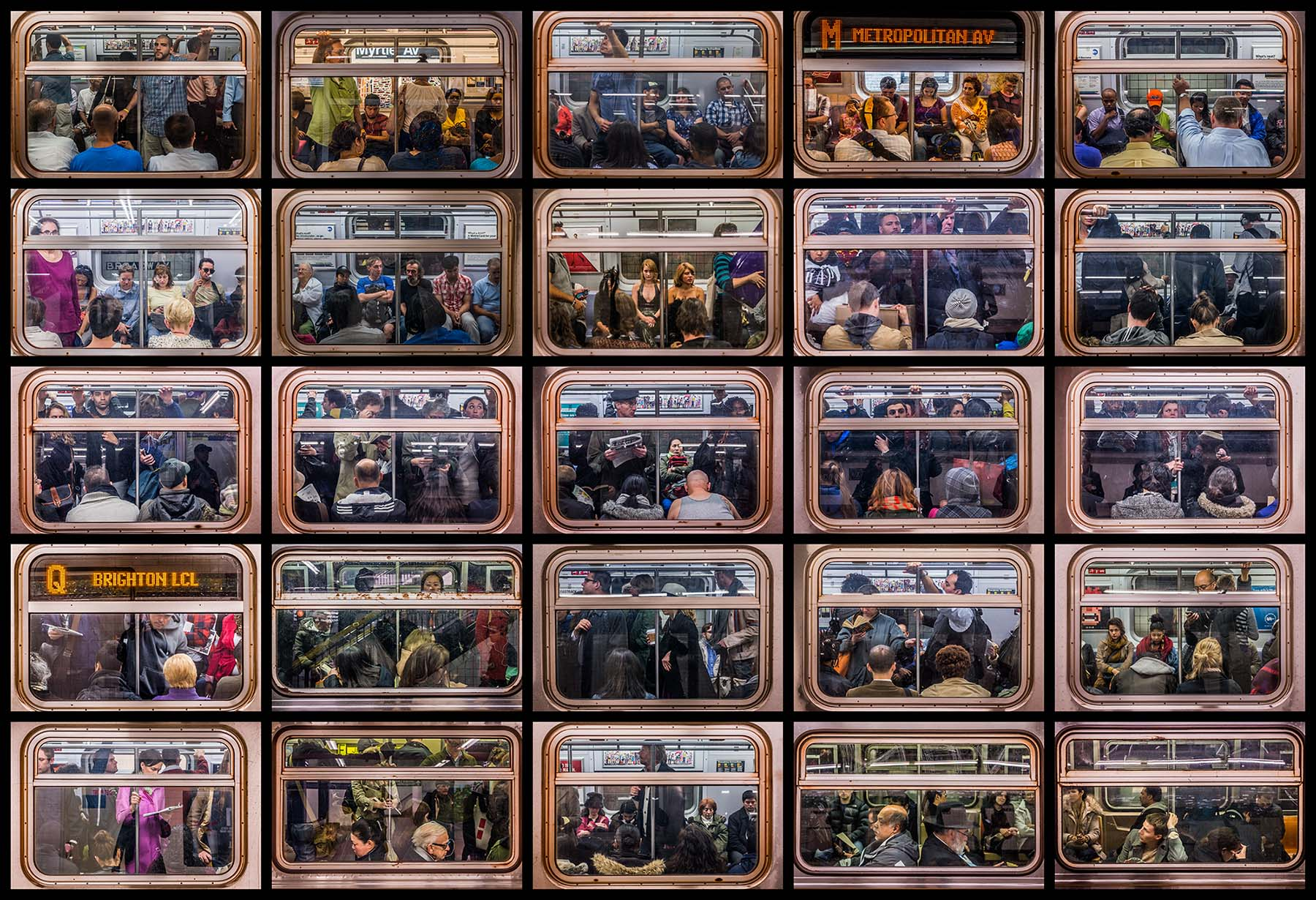 """Train window vignettes, large grid, from """"Sub/Culture."""""""